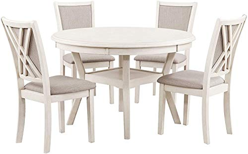 New Classic Furniture Amy 5-Piece Dining Table Set, Bisque