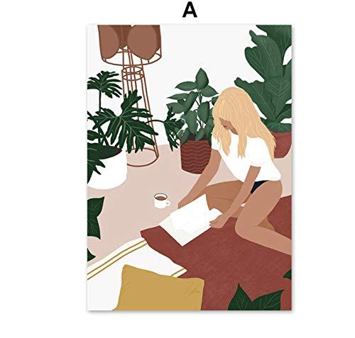 Chica abstracta Planta Fruta Hoja Vintage Carteles e impresiones nórdicos Arte de la pared Pintura de la lona Cuadros de la pared para la decoración de la sala de estar 40X60cm Sin marco