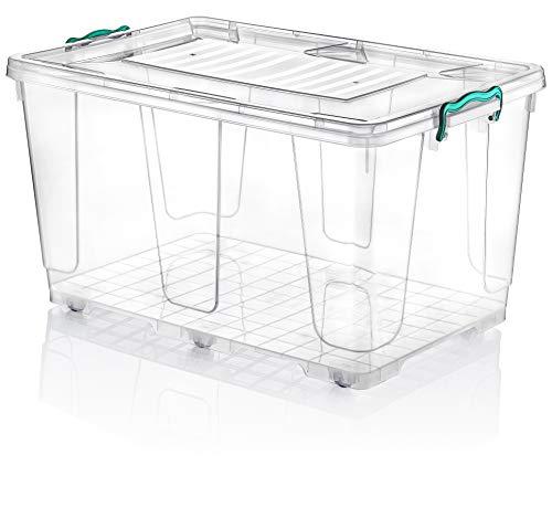 Hobby Life - Contenitore rettangolare in plastica, capacità 80 litri, con ruote