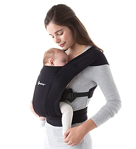 Ergobaby Embrace Cozy Newborn Baby Wrap Carrier (7-25 Pounds), Pure Black