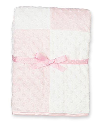 Spasilk Girls' Minky Raised Dot Baby Blanket with Satin Trim, Pink, 30' x 40'