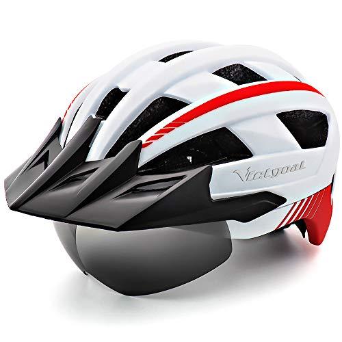 VICTGOAL Fahrradhelm MTB Mountainbike Helm mit abnehmbarem magnetischem Visier Abnehmbarer Sonnenschutzkappe und LED Rücklicht Radhelm Rennradhelm für Erwachsenen Herren Damen (White)