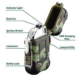 Arc Lighter Waterproof USB Rechargeable Electric Lighter Windproof...