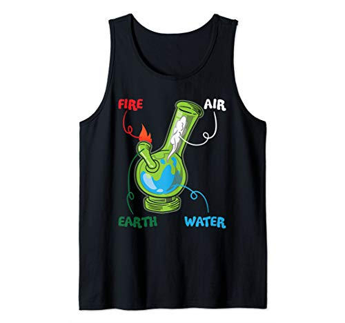 Bong Elements Fire Water Earth Air THC Weed Smoking Anatomy Tank Top