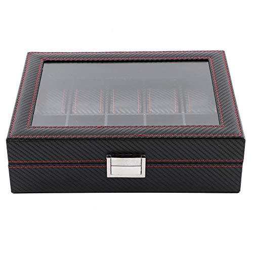 Estuche de viaje para reloj, caja de reloj portátil de fibra de carbono con 10 ranuras, para gafas de sol de viaje con anillo, hombres y mujeres