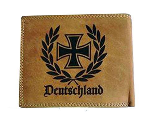 Geldbörse Portemonnaie Brieftasche Deutschland Eisernes Kreuz im Ehrenkranz aus echt Leder für viele Karten und Münzfach für Damen und Herren in der Farbe braun