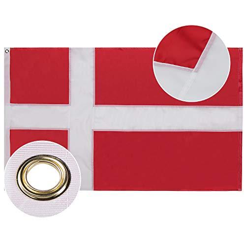Lixure Dänemark Flagge/Fahne 90x150cm Top Qualität Europa Länder Nationalflaggen - Durable 210D Nylon Draußen/Drinnen Dekoration Flagge MEHRWEG