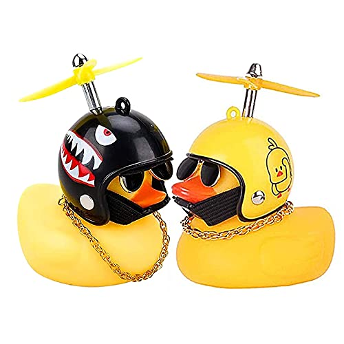 2 Stück Gelbe Ente Auto Armaturenbrett Dekorationen, Gummi Ente Auto Ornamente, Auto Gummi Ente Spielzeug mit Propeller Helm, für Männer Frauen Kinder Jungen Mädchen