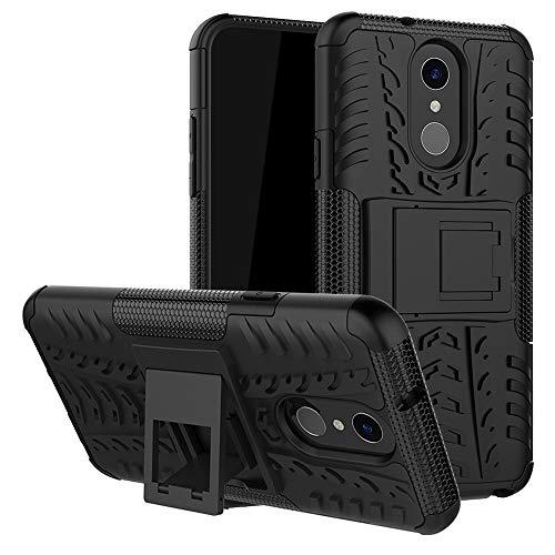 LFDZ LG Q7 Tasche, Hülle Abdeckung Cover schutzhülle Tough Strong Rugged Shock Proof Heavy Duty Hülle Für LG Q7 Smartphone (mit 4in1 Geschenk verpackt),Schwarz