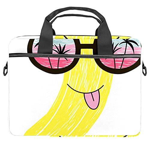 Funny Banana Fruit Character In Gafas de sol Bolsas para ordenador portátil de 13.4 a 14.5 pulgadas para portátil de negocios con correa extraíble Satchel Case Laptop Maletín