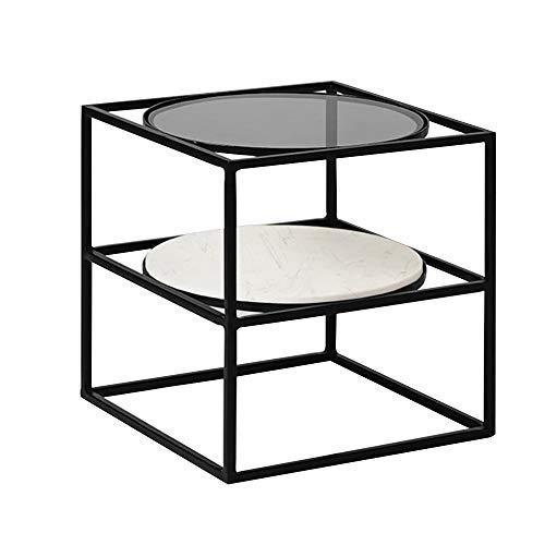 Lapdesks ZR Table Murale- Table D'appoint, Étagère À 2 Couches, Table de Nuit Table Snack du Balcon, Console en Fer Forgé, Plateau en Verre+Marbre -économiser de l'espace