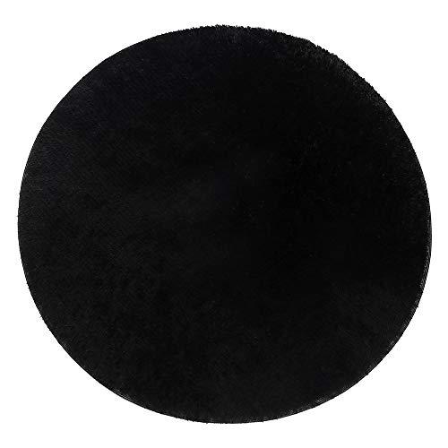 Lulalula Teppich, rund, zottelig, weich, für Wohnzimmer, Schlafzimmer, Boden, dekorativer Teppich, Spielteppich, Kinderzimmer, 100cm Durchmesser Schwarz