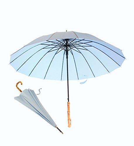 LYYUMBRELLAS Long poignée Parapluie Bambou poignée Parapluie ensoleillé Affaires Cadeau Droit Bar Parasol (Couleur : Bleu)