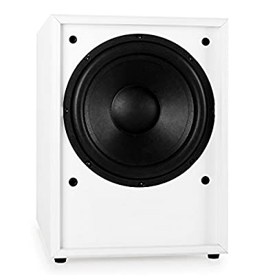 "Auna Line 300-SW-WH Active Subwoofer Built-In Amplifier with Possibility for Frequency and Phase Matching Bass Reflex Frontline Design for Powerful Bass Response (10"", 250W RMS) White from Auna"