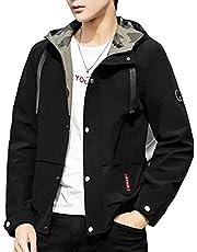 ジャケット メンズ 長袖 無地 ウインドブレーカー 春秋 フード付き アウター カジュアル 防風 軽量 大きいサイズ 卡其 XL