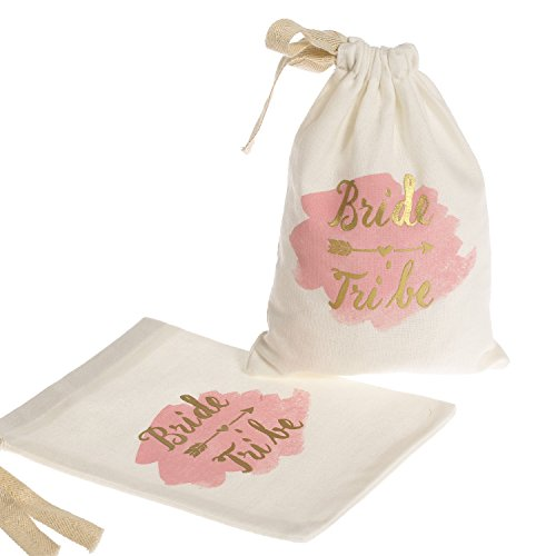 """Ling's moment 10pcs 4""""x6"""" Gold Sparkly Bride Tribe Watercolour Cotton Muslin Bags with Drawstring for Wedding Bachelorette Party Bridal Shower Gift Bags"""