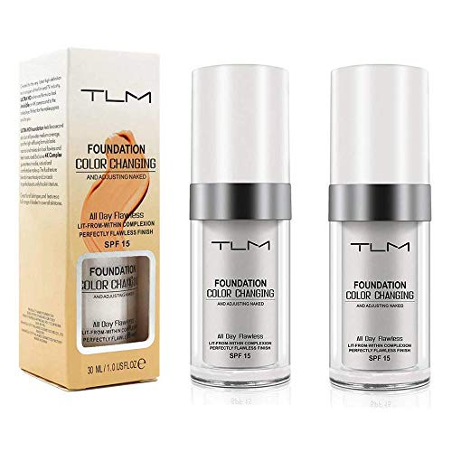 30ml TLM Colour changing Foundation Concealer Cover,Flawless Colour Changing Warm Skin Tone Foundation Makeup Base Nude Face Liquid Cover Concealer(2PACK )