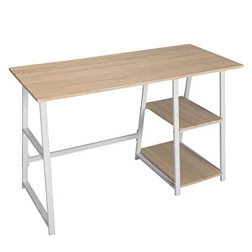 WOLTU Escritorio Mesa de Trabajo Mesa de Oficina Mesa de Ordenador portátil con 2 estantes, de Madera y Acero 120x50x73cm Roble Brillante TSG25hei