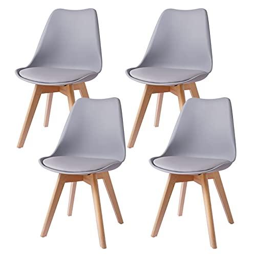 4er Set Esszimmerstühle Gepolsterter Stuhl mit Buchenholz-Beinen und Weich Gepolsterte Chair für Esszimmer Wohnzimmer Schlafzimmer Küche Besprechungsraum, (Gepolstert Grau)
