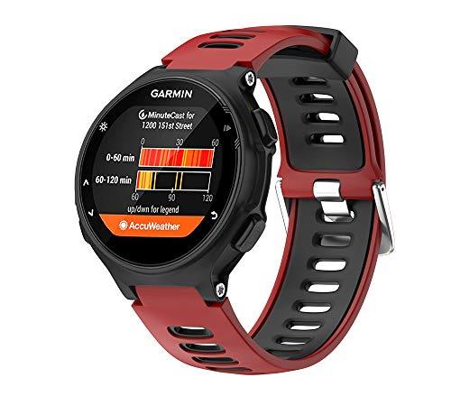 WIIKAI Compatible con Garmin Forerunner 735XT,630,620,235,230,220 Correas para Relojes, Correa de Pulsera de Reemplazo(Rojo + Negro).