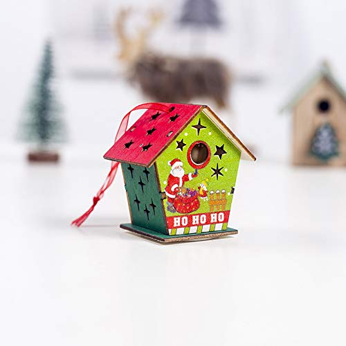 SZMYLED LED Christmas Ornaments Hanging Crafts, Wooden Colored House Shape Christmas Tree Pendant with Hanging Rope Ornaments Holiday Decoration C Section Green Fence Old Man