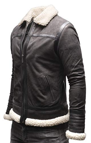 Crone Knut Shearling - Chaqueta de piel auténtica con cuello de piel para hombre Midnight Black (nobuck. M