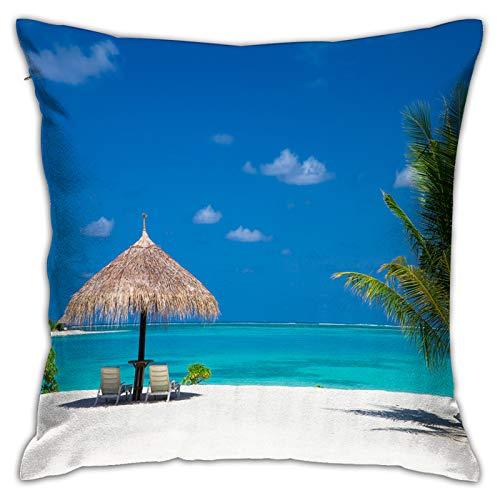 Funda de Cojín,Playa Tropical Maldivas pocas Palmeras,Funda de Almohada Cuadrado para Sofá Coche Cama Sillas Decoración para Hogar(45 x 45cm)