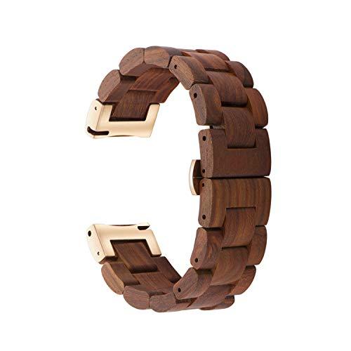 木製腕時計バンド 20mm Samsung Galaxy Watch Active/Active 2用 40/42/44mm 木製ステンレススチール腕時計バンド クイックリリースストラップ 交換用ブレスレット リストバンド (レッド+ローズゴールド)