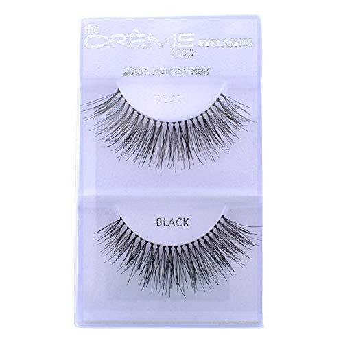 12 Pairs Crème 100% Human Hair Natural False Eyelash Extensions Black #747L Long Full Natural Lashes