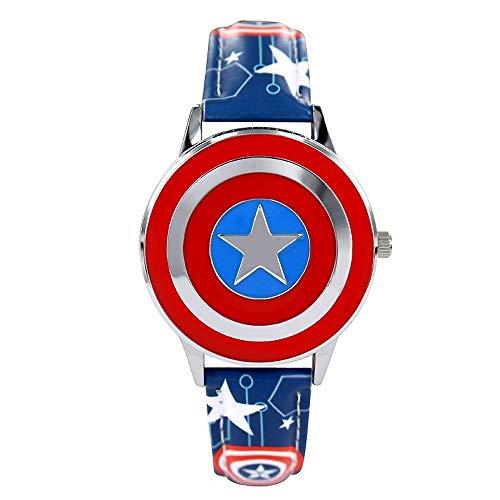 Lxwi Personaje Animado Reloj Capitán América Escudo Reloj Flip Reloj de Cuarzo Marvel niño del Muchacho del Reloj del Estudiante del Reloj Regalo de la Historieta (Color : D)