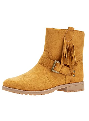 oodji Ultra Damen Stiefel aus Wildlederimitat mit Fransen, Gelb, 38 EU / 5 UK