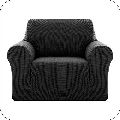 Amazon Brand - Umi Sofaüberzug Jacquard Sofaüberwurf Stretch Sesselbezug Couchhusse Sofabezug Wohnzimmer 1-Sitzer Schwarz