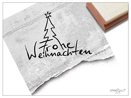 ZAcheR-fineT Kerststempel Vrolijk kerst, handschrift boom - tekststempels kaarten cadeauhangers kerstdecoratie knutselen tafeldecoratie