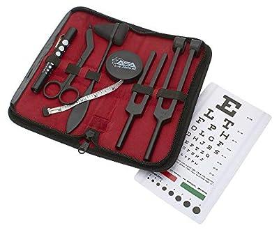 "Set of 7 pcs Tactical Black Diagnostic Reflex Percussion Kit - Taylor Hammer, Body Measuring Tape, Tuning Fork Set, Bandage Scissors 5.5"", Pupil Gauge Penlight, Snellen Eye Chart w/Zipper Case"
