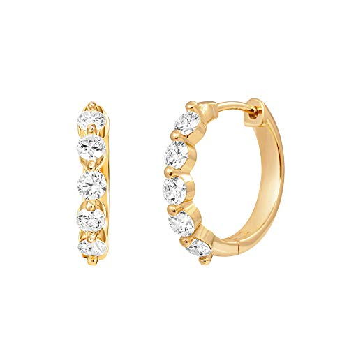 PAVOI 14K Yellow Gold Plated 925 Sterling Silver Post 16mm 5 Stone CZ Hoop Earrings for Women