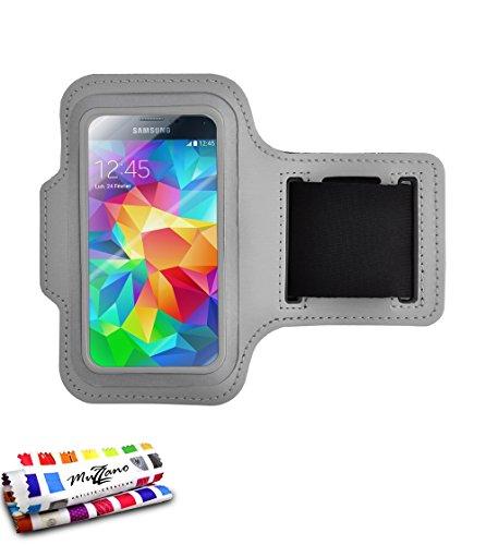 Fascia da braccio Sport Samsung Galaxy S5[Tonic S5] [Grigio] di MUZZANO + Pennino e Panno Muzzano offerti–La protezione per eccellenza, anti-derapante e sostenibile per il vostro Samsung Galaxy S5
