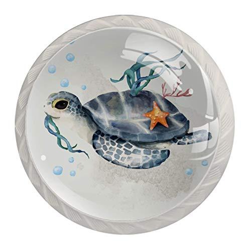 Blanco Perillas Redondas Tortuga marina estrella de mar algas Hecho a Mano perilla del gabinete para los cajones del tocador de la habitación infantil (con Tornillos) 35mm