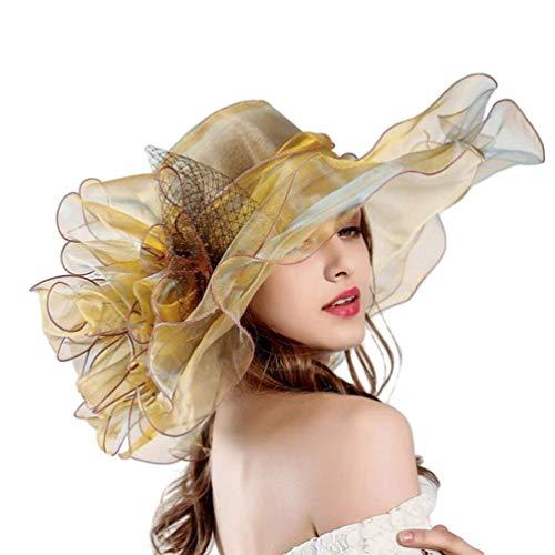 Berretti da Donna Berretto da Sole Berretto Garza Protezione da Spiaggia Solare Accogliente Cappello da Sole Protezione Solare Protezione Elegante (Color : Oro, Size : One Size)