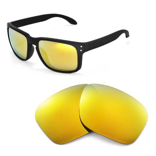 Walleva Ersatzgläser für Oakley Holbrook Sonnenbrille - Mehrfache Optionen (24K Gold Mirror Coated - Polarisiert)