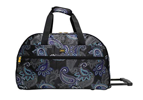 Lucas Designer Carry On Luggage Collection - Lightweight Pattern 22 Inch Duffel Bag- Weekender Overnight Business Travel Suitcase with 2- Rolling Spinner Wheels (Paisley)