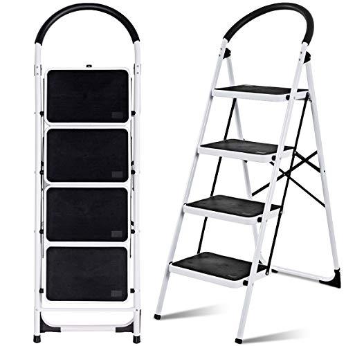 GIANTEX Trittleiter 4 Stufen klappbar, Klapptritt Klapptrittleiter 150 kg Tragfähigkeit, Stufenleiter Haushaltsleiter mit Sicherheitsbügel, Anti-Rutsch, Metall, weiß