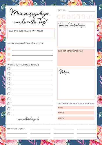 Tagesplaner Block – 50 Blatt, Format A5, Blumen, Notizblock für tägliche Aufgaben und mehr Achtsamkeit, To Do's, Notizen, Verabredungen, abtrennbare Einkaufsliste uvm.
