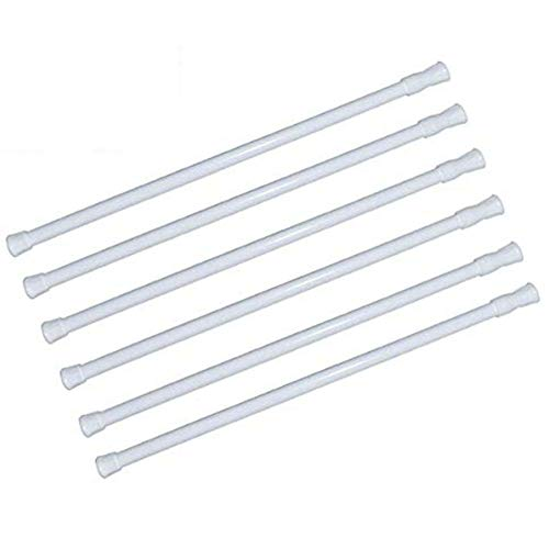 "6 Pack Spring Tension Curtain Rod Adjustable Length for Kitchen, Bathroom, Cupboard, Wardrobe, Window, Bookshelf DIY Projects (White - 6 Pack,28"" to 48"" Adjustable)"