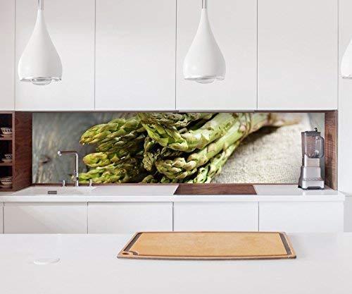 Aufkleber Küchenrückwand grüner Spargel Küche essen deutsch Folie selbstklebend Dekofolie Fliesen Möbelfolie Spritzschutz 22A554, Höhe x Länge:80cm x 300cm