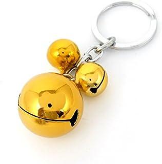 DealMux Gold Tone Metal 3 Bells Dangling Flat Split Ring Keychain Keyring