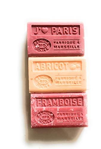 lot de 3 savons de Marseille Bio à l'huile d'olive - 3x125g- J'aime Paris, abricot, Framboise