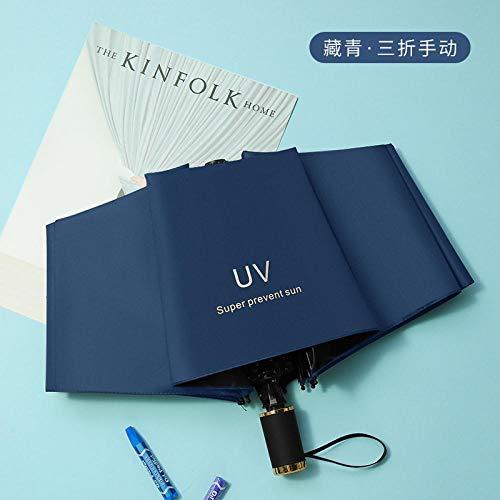 MMWW Winnie The Umbrella Vinyl Sunshade Umbrella Three-fold Automatic Sunny Umbrella Anti-Ultraviolet Bear Sun Umbrella-Navy Blue UV Manual Long-Term