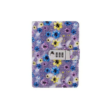 Best Quality - notebooks - creative A6 Diary met PU lederen bloem notebook school supplies able password writing pads notebook meisje geschenk - by Stephanie - 1 pc Purple - Only cover No paper