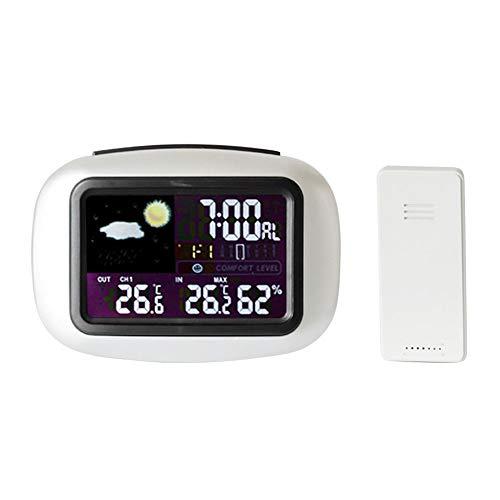 Sweet48 digitale klok kalender, kalenderklok dag datum klok digitale klok met grote weergave met heldere cijfers, wekker thermometer weerstation Smart Wireless LCD-scherm