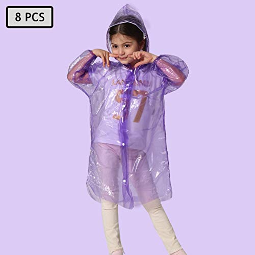 Best Price Lgan 8PCS Rain Poncho for Adults, Child Clear Raincoats with Hood Disposable Rain Coats f...